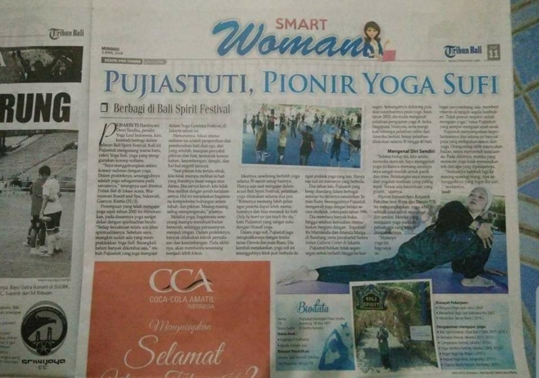 Yoga Sufi dimuat di Koran Tribun Bali, 2016